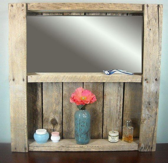 Rustic Bathroom Mirror Shelf Wine Rack By MyBrothersBarn