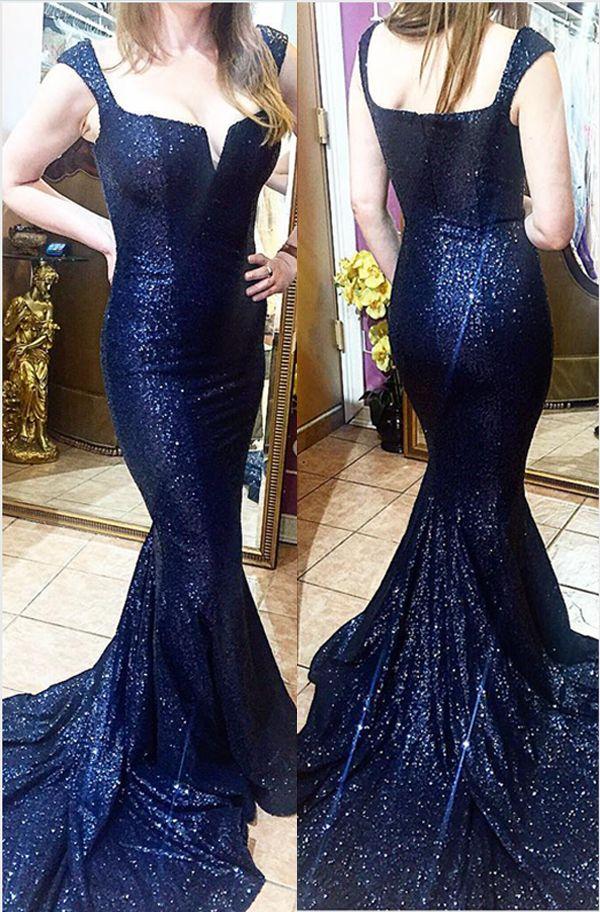 65d86ec12d New Navy Blue Sequin Mermaid Prom Dresses Evening Gowns