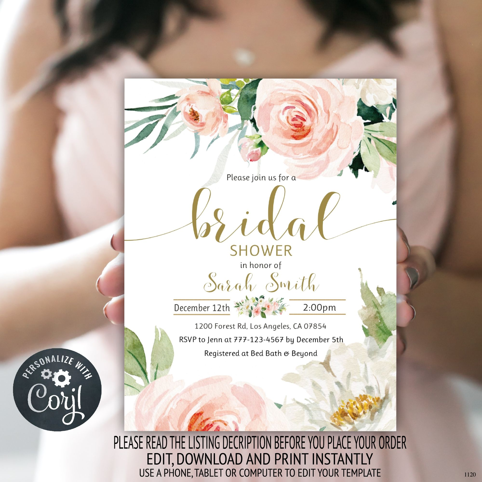 wedding shower minimalist FFTH fall instant download editable template boho bridal shower dinner invitation party printable feathers