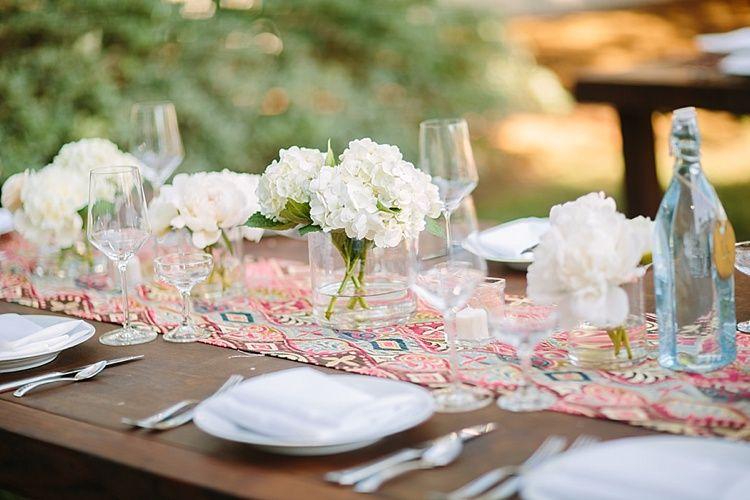 Bohemian Backyard Wedding White Hydrangea Centerpieces Flowers By Plentyofpetals