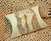 DIY Favor boxes - Vintage Personalized Pillow Boxes - Vintage Book Page - Wedding Favor - Lace - Vintage Wedding - Soap Favor - Neutral