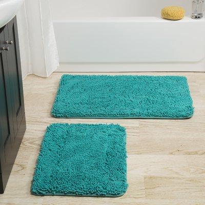 The Twillery Co Josef 2 Piece Bath Rug Set Color Seafoam Bath Mat Sets Blue Bath Mat Bath Rugs