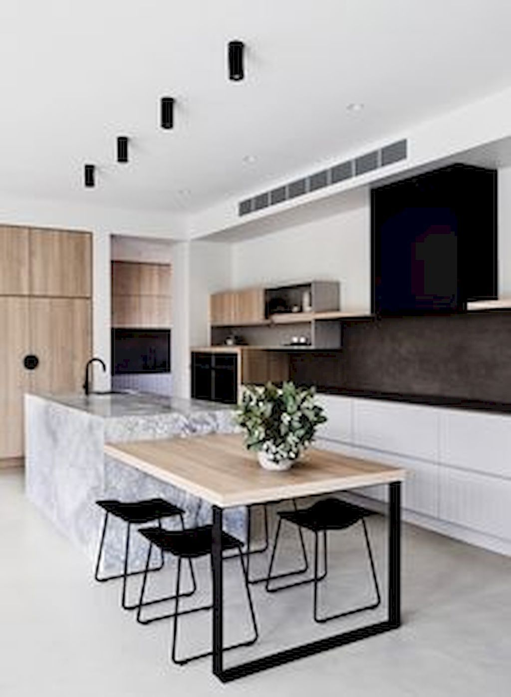 cuisine scandinave minimaliste bois, blanc, noir, marbre | bathroom