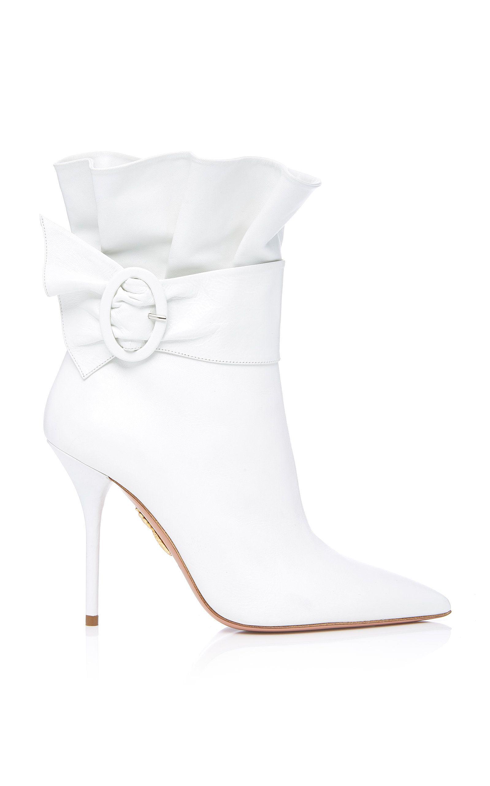 Aquazzura Palace Ruffled Leather Ankle Boots NeCVmihay1