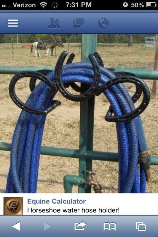 Horseshoe Hose Hanger Horseshoe Projects Horseshoe Decor