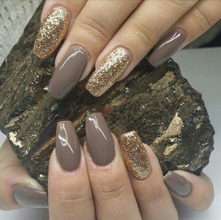 Dark Olive Square Tip Acrylic Nails w/ Gold Glitter | Nails ...