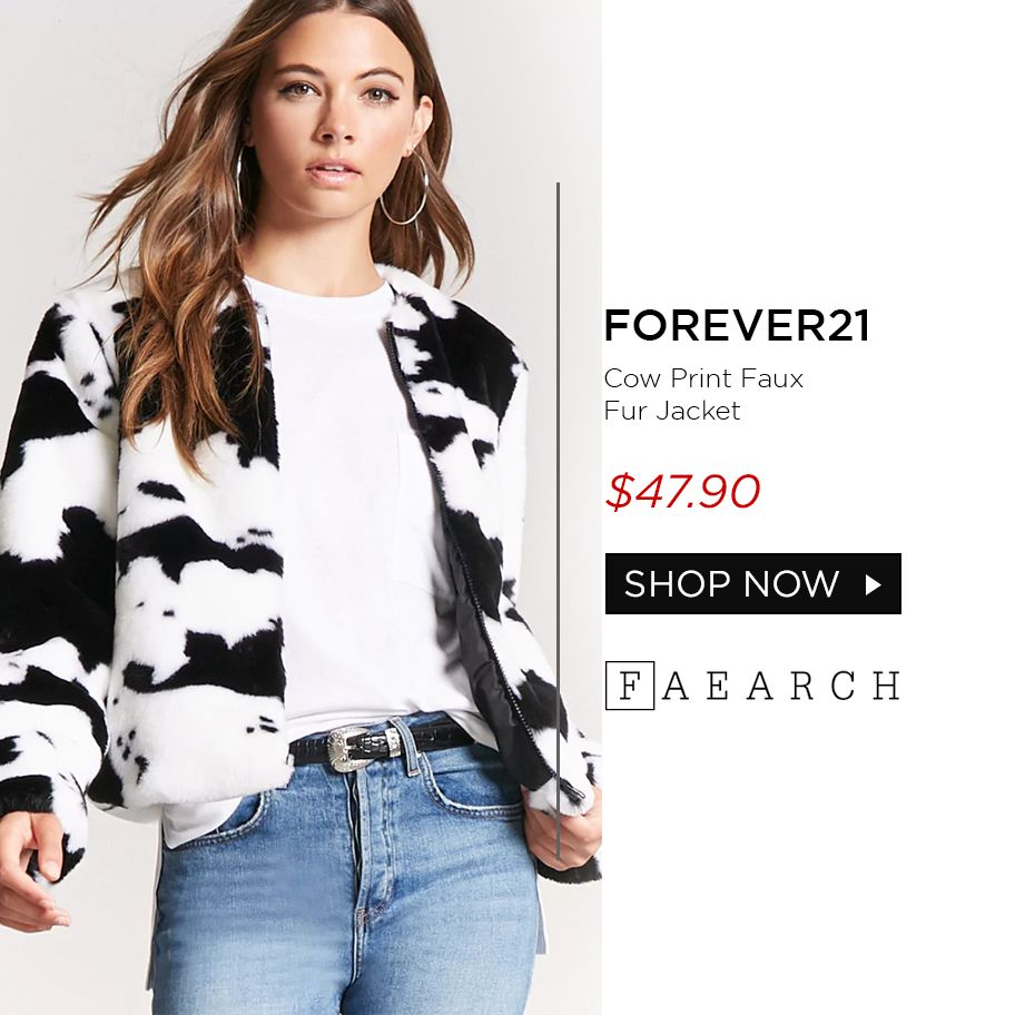 a9ac107cadaa For all animal print lovers. Black and white cow print faux fur jacket  match your