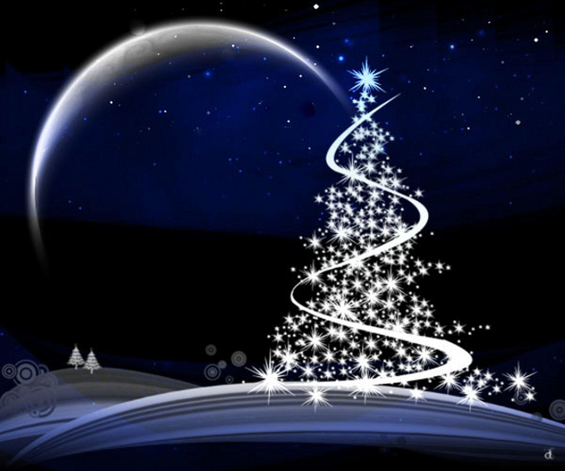 Holiday Christmas  Tree Christmas Tree Blue Stars Moon Wallpaper