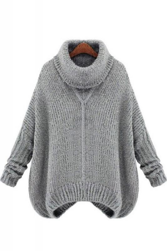 Turtle Neck Loose Pullover Sweater | kiyafetler | Pinterest | Tejido ...