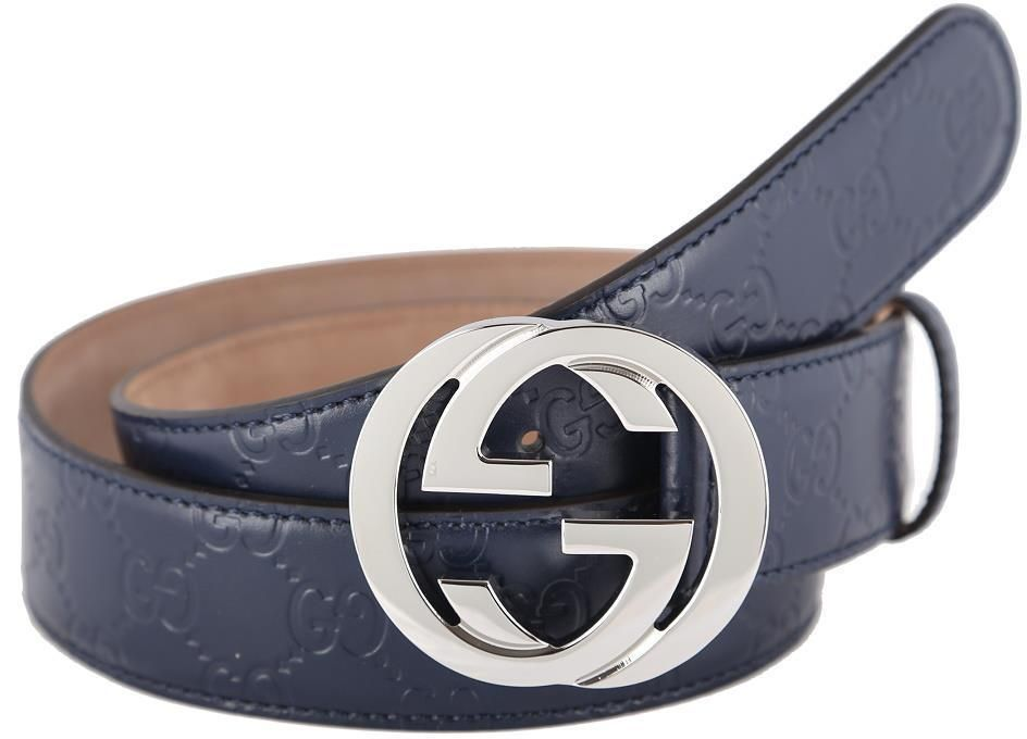 be11c383c90 NEW GUCCI GUCCISSIMA BLUE LEATHER INTERLOCKING G PALLADIUM BUCKLE BELT 85 34  Item specifics Condition