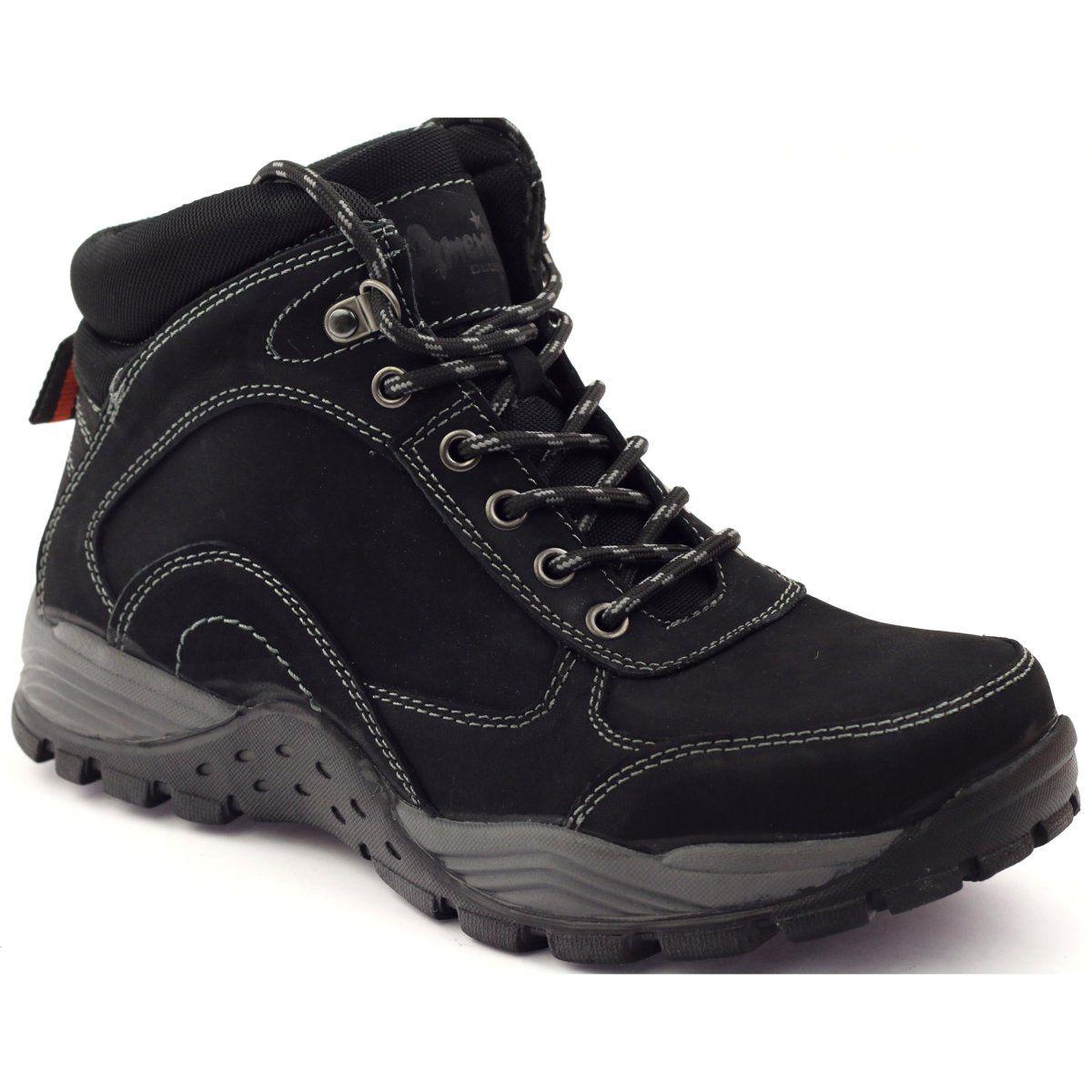 Trekkingi Skorzane American Club 15673 Czarne Boots Men S Shoes Shoes