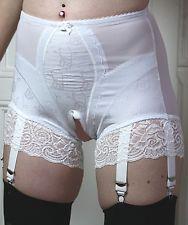 Weiße  Miederhose 6 Strapse Spitze Girdle Shapewear open offen **alle Größen**