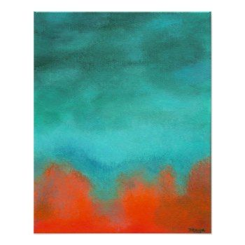 Fire Down Below, Abstract Art Red Orange Aqua Poster, From Painting by Itaya