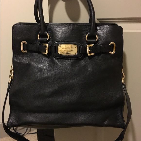 MICHAEL Michael Kors Hamilton Saffiano Leather Bag Michael Kors Hamilton East West Satchel in Black Leather. New Condition. Comes with Long Strap or option to hold on smaller straps. Gold Hardware! Large bag perfect for work! MICHAEL Michael Kors Bags Satchels