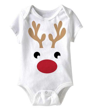 Jiminy Christmas White Reindeer Face Bodysuit Infant Flocken