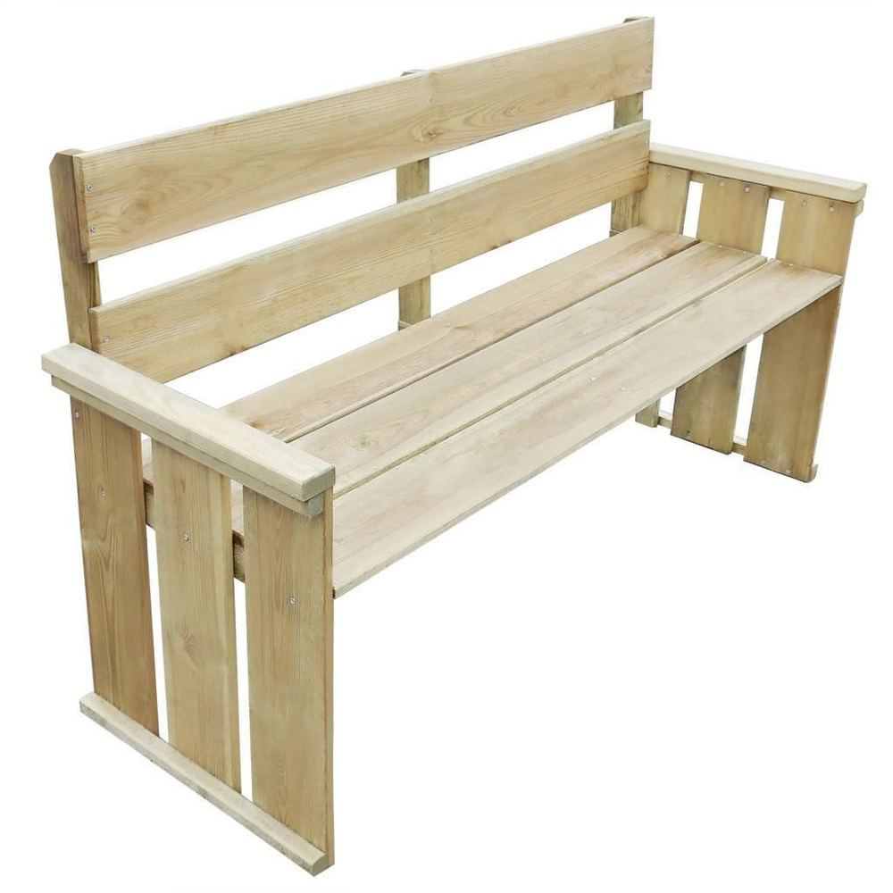 Wooden Garden Bench Pine Wood Natural Wood Colour Outdoor Lawn Balcony  Furniture