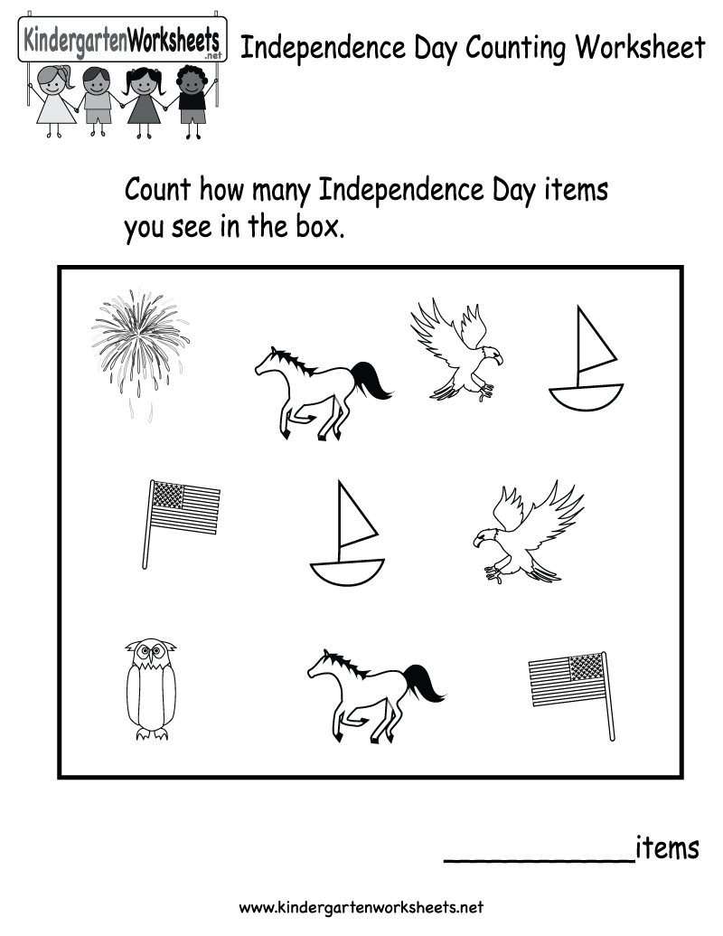 Kindergarten Independence Day Counting Worksheet Printable | 4th of ...