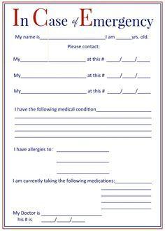 I C E In Case Of Emergency Forms Emergency Medical Emergency