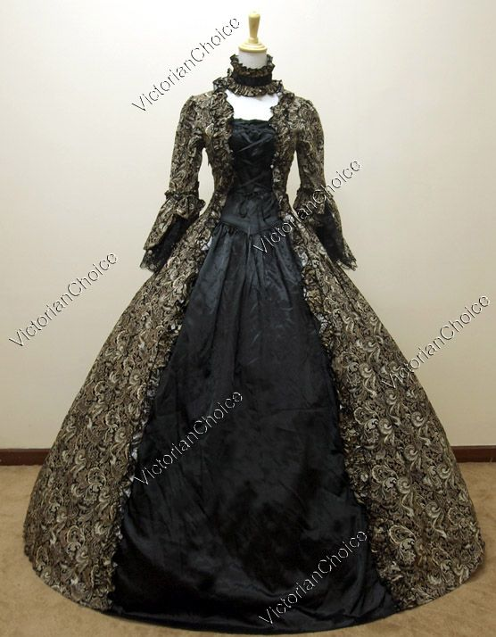 Georgian Victorian Gothic Period Dress Prom Gown Wedding Reenactment  Theatre Clothing 51d37029bfc6
