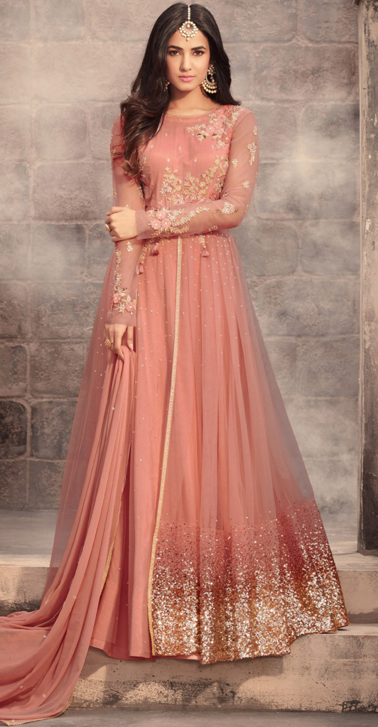5bdfe8c5282c Dark Peach Designer Embroidered Net Wedding Anarkali Suit in 2019 ...