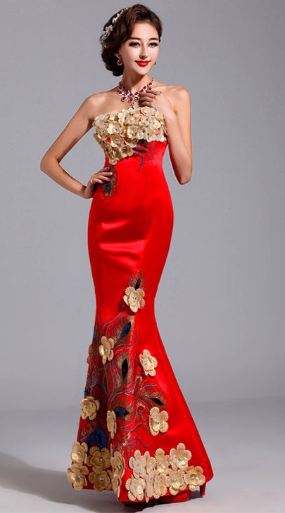 Gold 3D flowers embroidered Chinese red mermaid bridal wedding ...