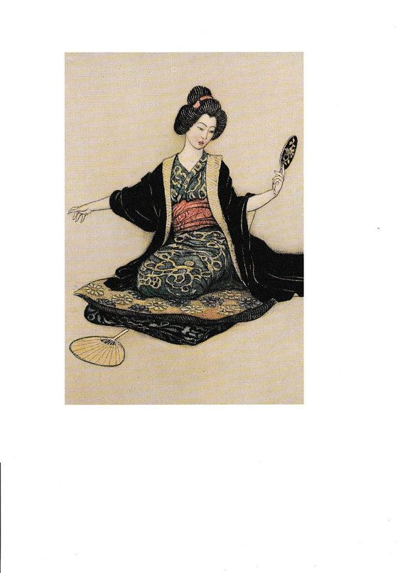 Buy Warwick Goble The Haunted Flute and other Japanese Stories Entitled Reflections ORIGINAL Book Plate Decorative Wall/Nursery  Hanging 1995 by vandrvintageprints. Explore more products on http://vandrvintageprints.etsy.com
