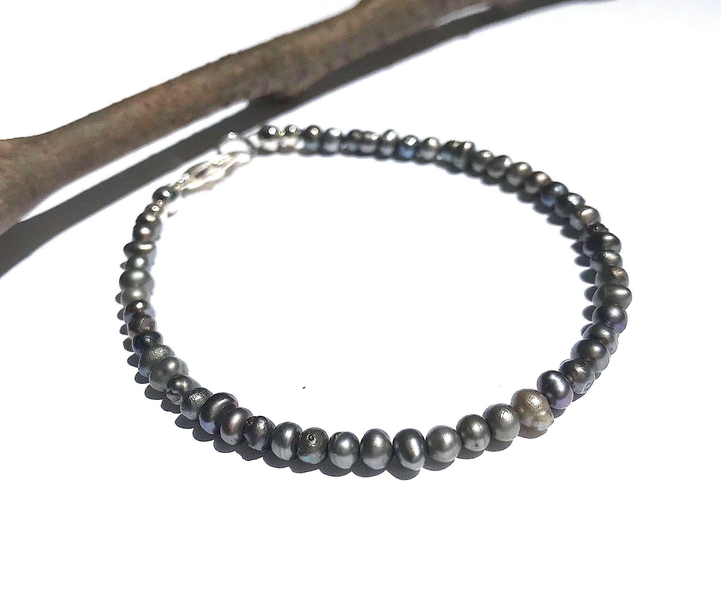 Photo of Tiny Freshwater Pearl Bracelet in Dark Gray, Dainty Jewelry for Women, Unique Gifts for Her, Silvery Grey Color