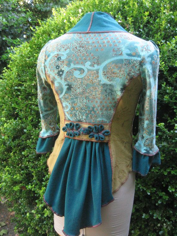 Mossbrae Falls Faerie Frock / jacket made from recycled cotton T shirts by CouturierFaerieVerte.