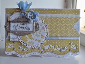 Birthday card.  JustRite stamp.  Blomsterbox