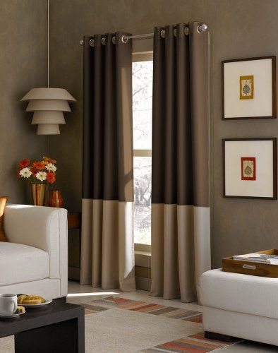 curtainworks kendall color block grommet curtain panel 52 inch by 84 inch chocolate. Black Bedroom Furniture Sets. Home Design Ideas