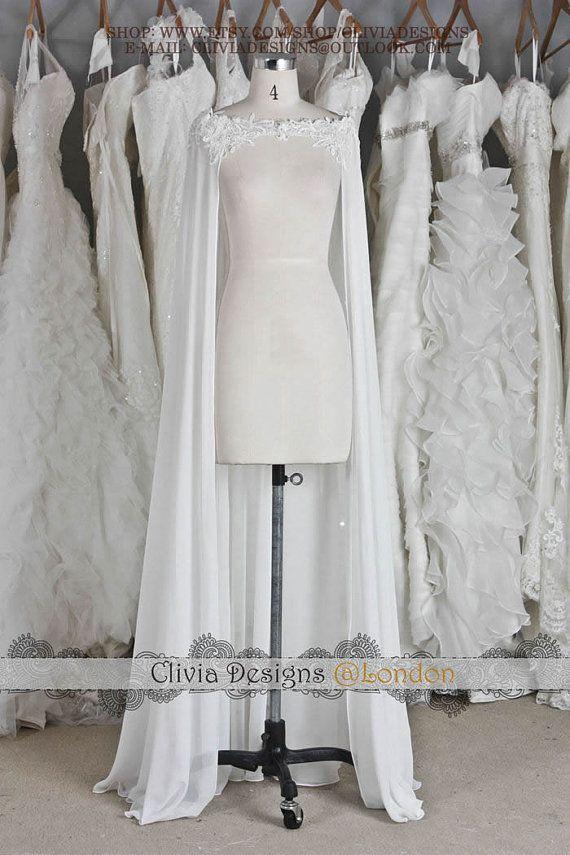 Women/'s Cloaks Wedding Capes Soft Chiffon Cape Shrug Bridal Long Shawl and Wraps