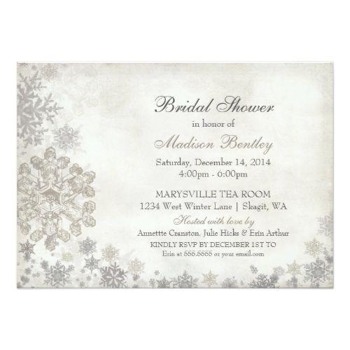 snowflake winter bridal shower cream charcoal card