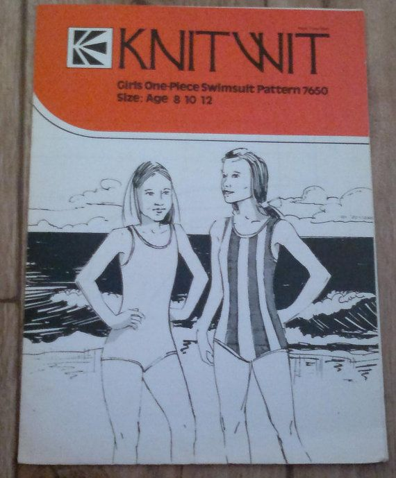 Vintage Sewing Pattern Knitwit 7650 Girls One Piece Swimsuit ...