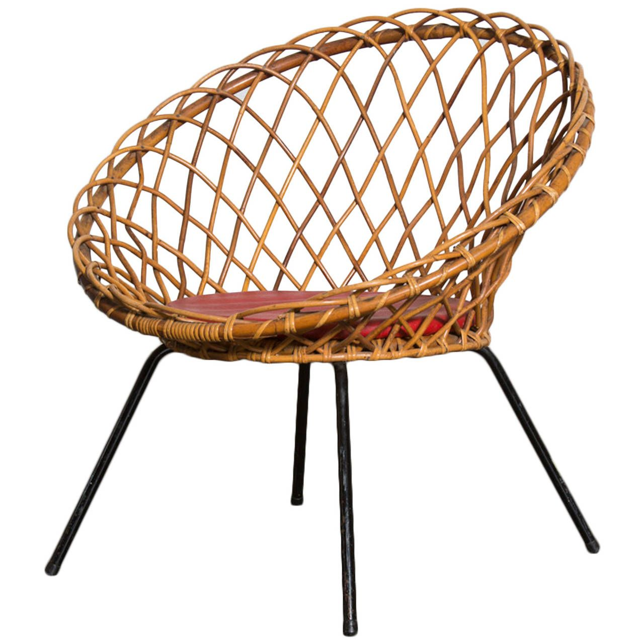Best Jacques Adnet Style Woven Lattice Bamboo Hoop Chair For 400 x 300