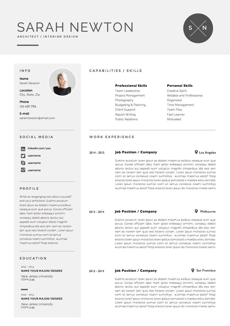 Resume Template 4 Pages Moonlight With Images Cover Letter