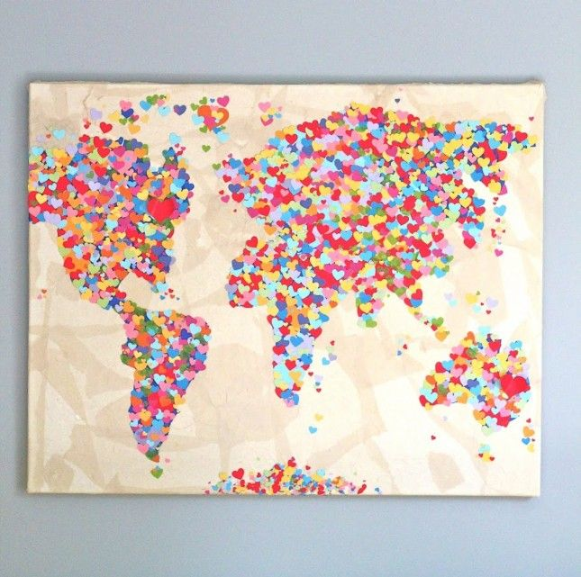 10 diy travel projects to work on until your next trip walls welcome to the mouse house united colors of love world map made from punched hearts gumiabroncs Image collections
