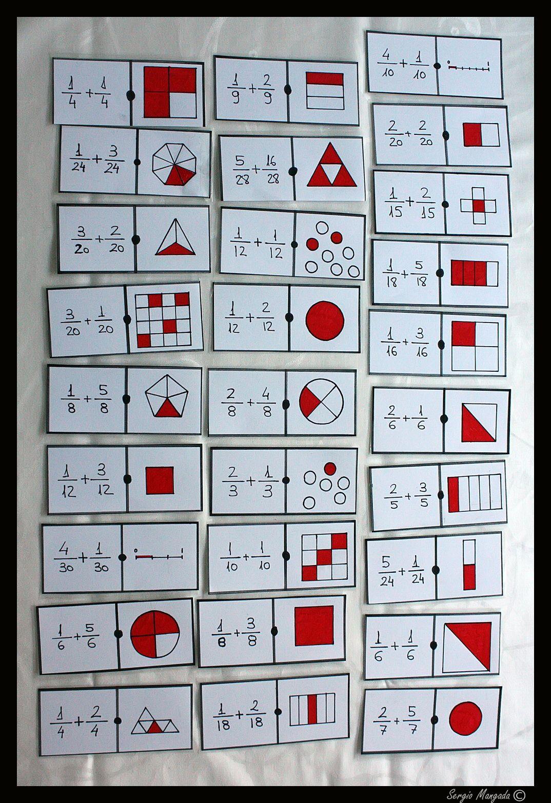 Dominó matemático completo de suma de fracciones | manualidades ...