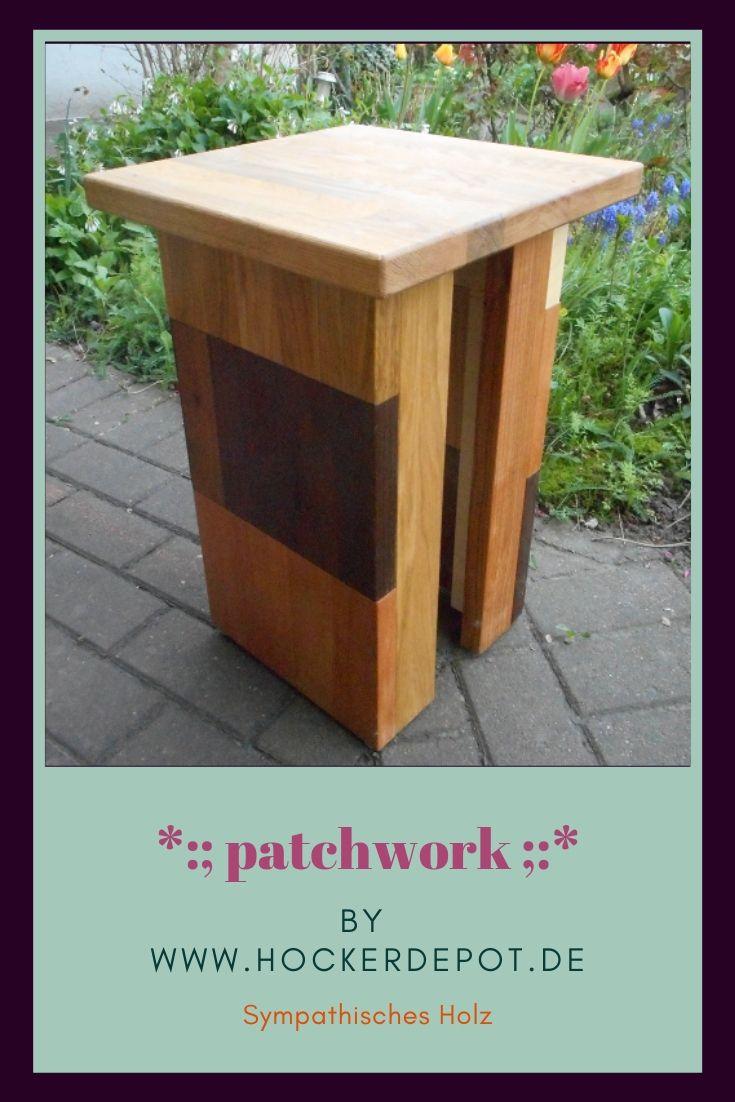 Patchwork Hocker Holzhocker Holzleisten Hocker