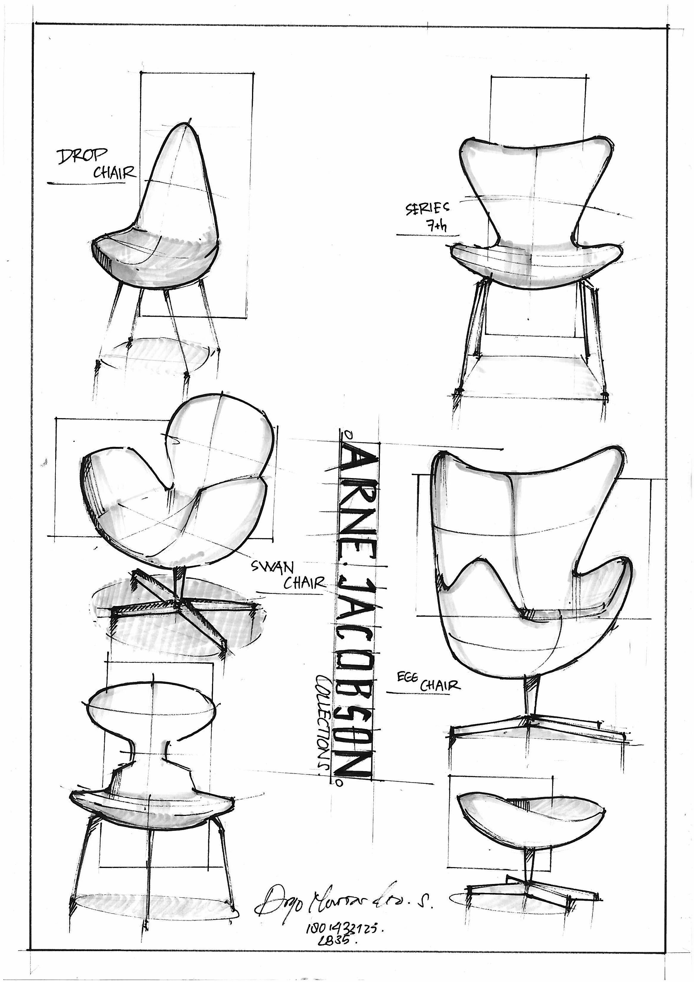 Eames Chair Drawing Freehand Sketch Arne Jacobsen Chair Collections My