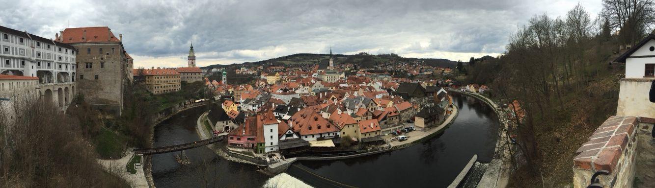 Dobry den! From Cesky Krumlov castle, Cesky Krumlov, Czech Republic.