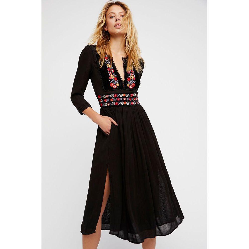 b38ef78b9c7 NWT Free People Flora Midi Dress M Medium Black 190383771397