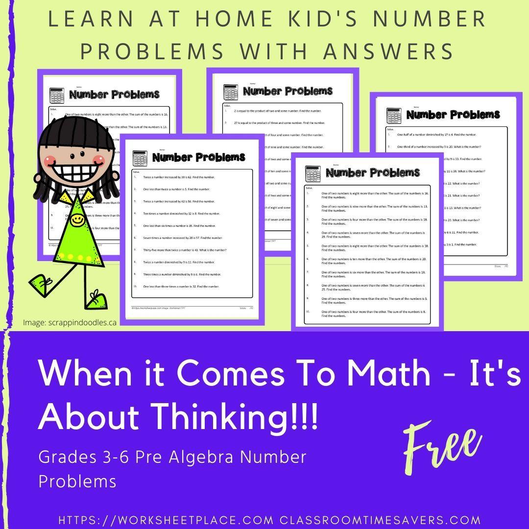 Home Learning Math Worksheets For Pre Algebra Number