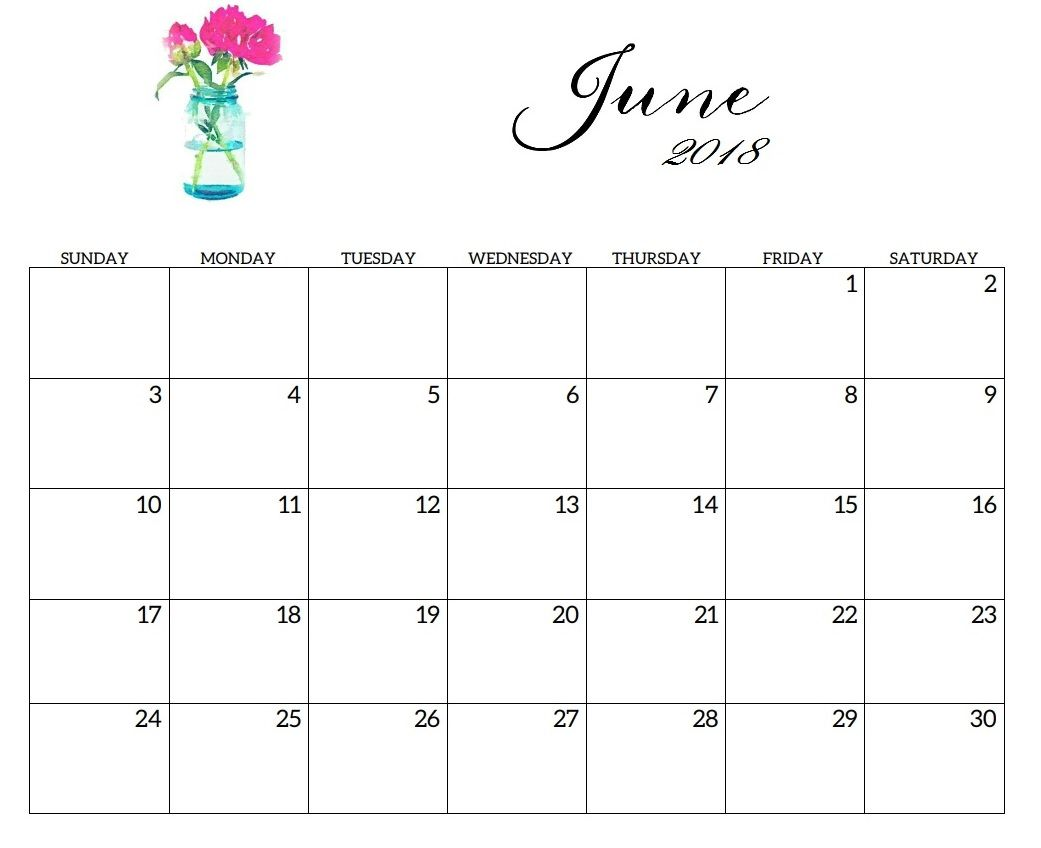 June 2018 Blank Template Calendar Sunday Monday Tuesday Monday