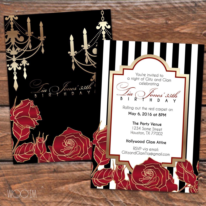 Hollywood Glam Formal 30th, 40th, 50th Birthday Invitation ...
