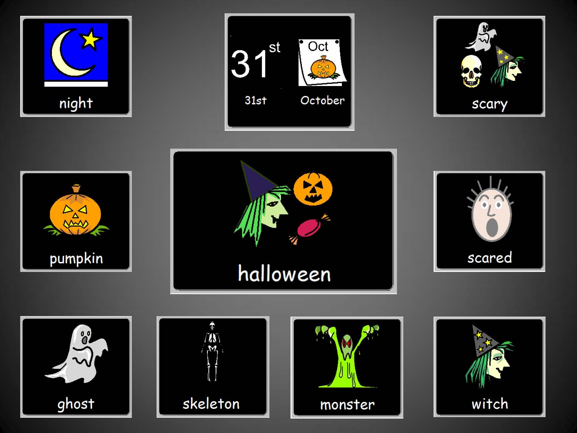 A Halloween chatter mat using widgit symbols for