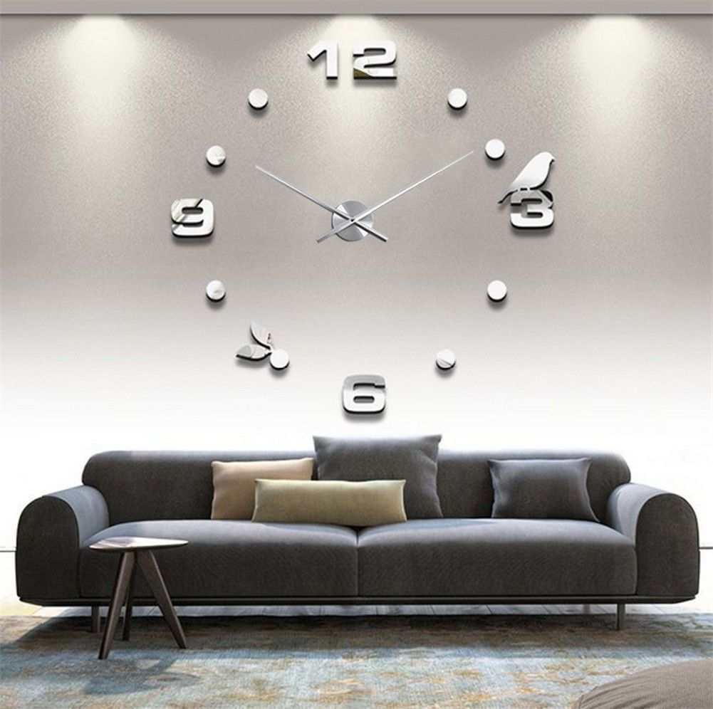 Luxury Wall Clock Living Room Diy 3D Home Decoration Mirror Large ...