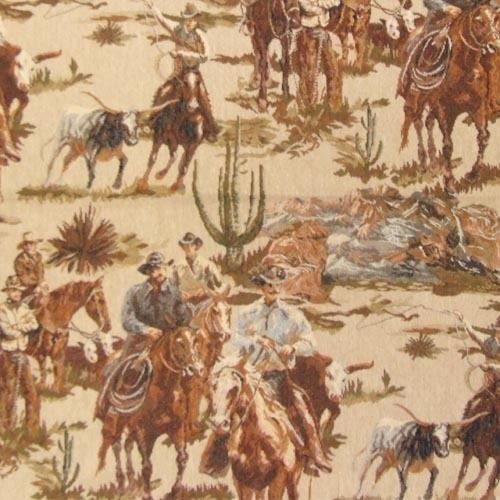 Cowboy roundup longhorn cattle upholstery fabric western