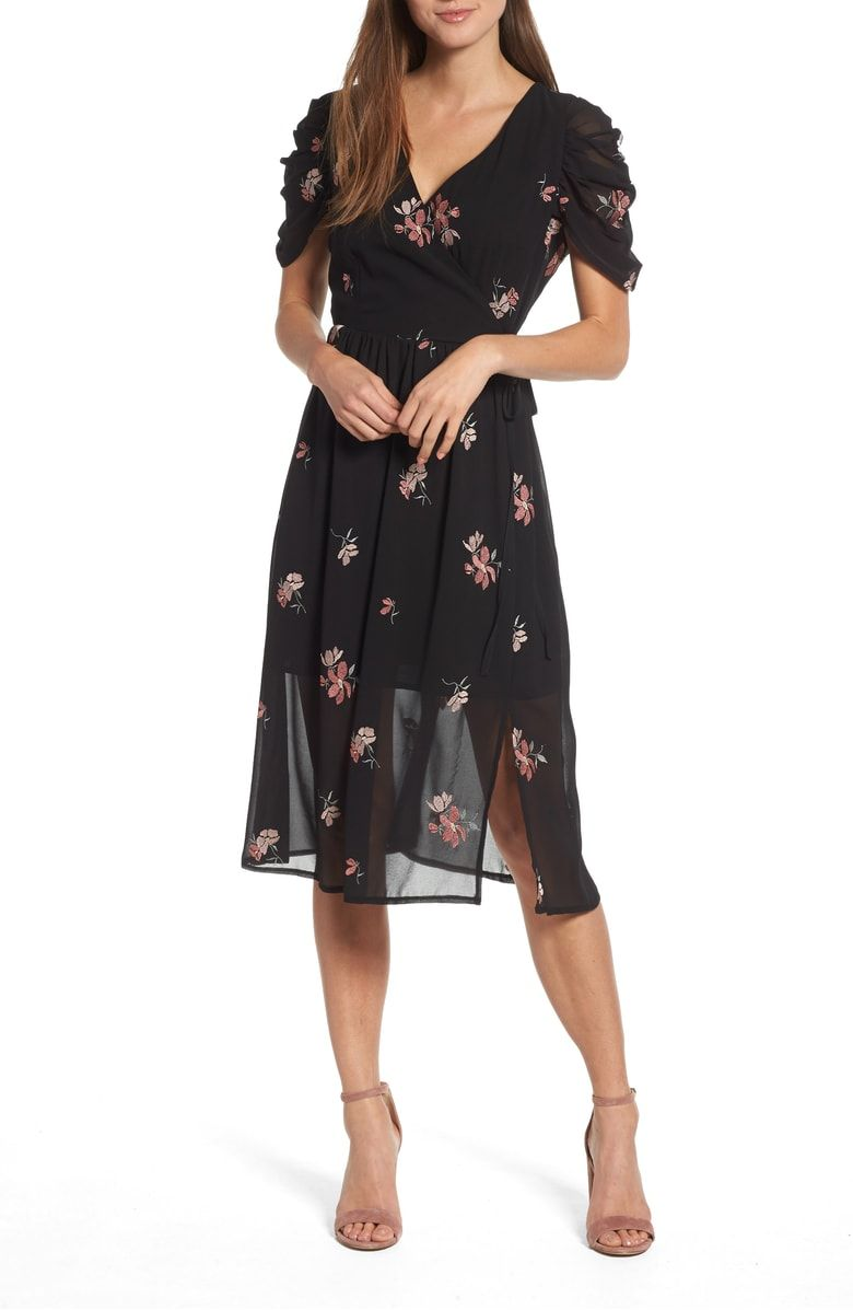 Lost Ink Floral Embroidered Wrap Midi Dress Nordstrom Dresses Wrap Midi Dress Midi Dress [ 1197 x 780 Pixel ]
