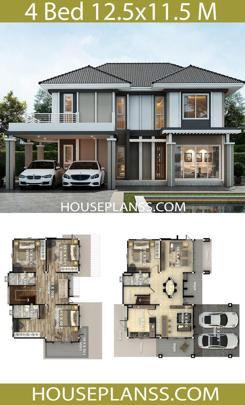 House Plans Idea 12 5x11 5 With 4 Bedrooms Architectural House Plans 2 Storey House Design House Layout Plans