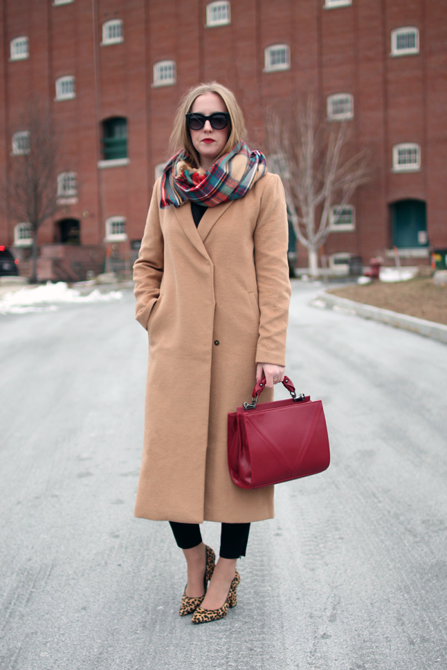 Style-Blueprint.com: Long camel coat // plaid scarf // red topshop ...